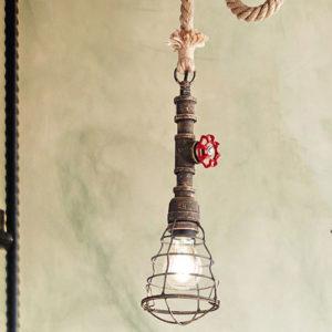 Lampadario sospensione rubinetto in metallo colore bronzato
