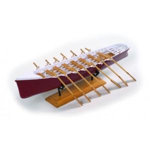 Modellino barca a remi canoa in legno dipinta a mano
