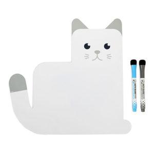 Lavagna magnetica per frigo in plastica bianca a forma di gatto scrivibile 32x33