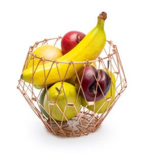 Cesto frutta cambia forma rosa regolabile metallo
