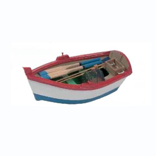 Modellino Barca da pesca in legno rossa 5 x 14,5 x 7,7 cm.