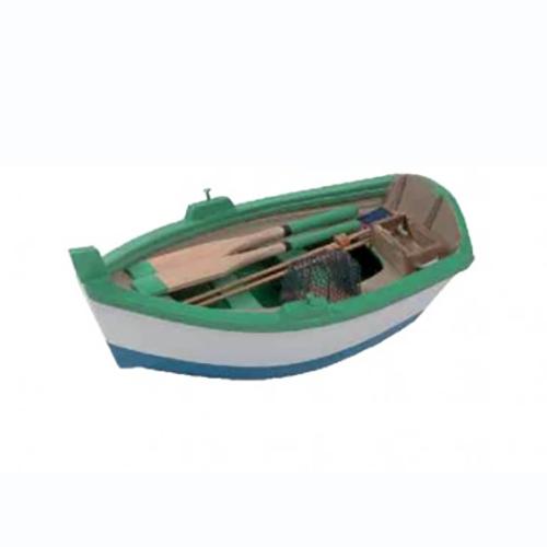 Modellino Barca da pesca in legno verde 5 x 14,5 x 7,7 cm.