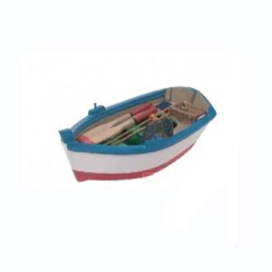 Modellino Barca da pesca in legno blu 5 x 14,5 x 7,7 cm.