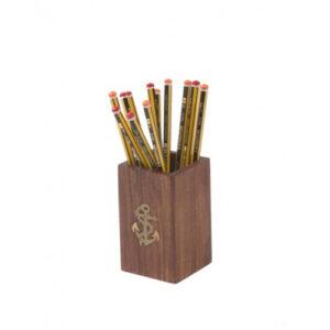 Porta penne da scrivania in legno e ottone