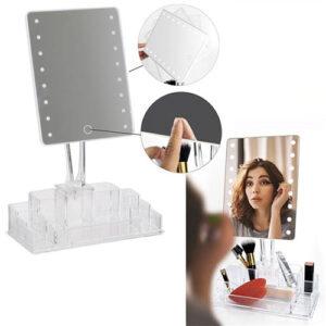 Specchio trucco da tavolo con luci led e porta trucchi