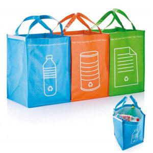 Contenitori per la raccolta differenziata set 3 pezzi blu arancio e verde