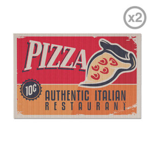 Set di 2 tovagliette Pizza stile retrò