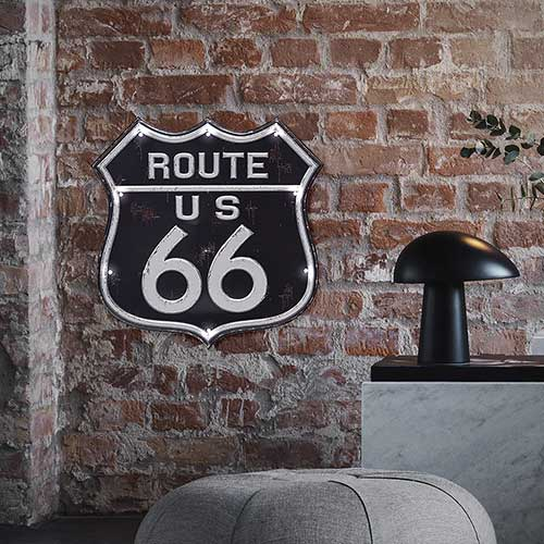 Targa decorativa adesiva Route 66 con luci led