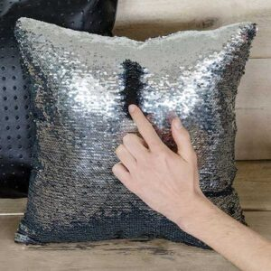 Cuscino Paillettes Magic nero e silver 40 x 40 sfoderabile