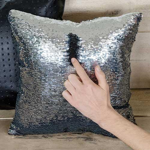Cuscino Paillettes Magic nero e silver 40 x 40 sfoderabile