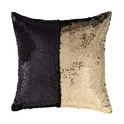Cuscino Paillettes Magic nero e oro 40 x 40 sfoderabile