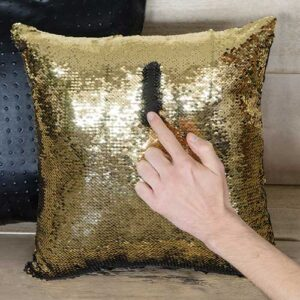 Cuscino Paillettes Magic nero e oro 40 x 40 sfoderabile