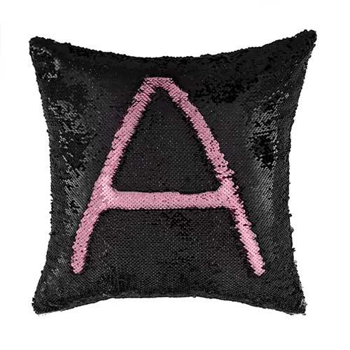 Cuscino Paillettes Magic nero e rosa 40 x 40 sfoderabile