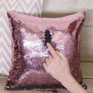 Cuscino Paillettes Magic nero e rosa 40 x 40 sfoderabile