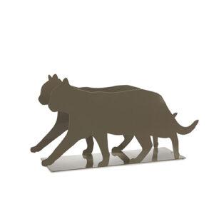 Portariviste Gatto in metallo grigio