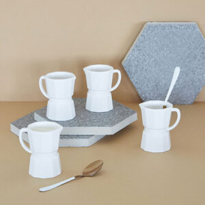 Set tazzine espresso Moka in ceramica bianca