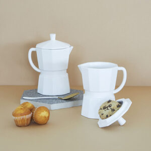 Tazza Mug o lattiera Moka in ceramica bianca