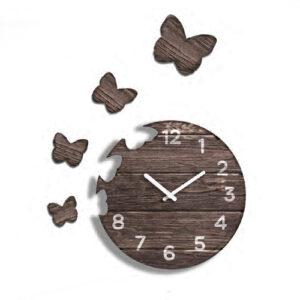 Orologio Butterfly da parete in legno scuro