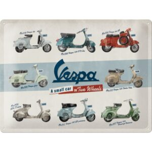 Cartello Vespa Model Chart 30 x 40 in metallo