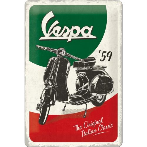 Cartello Vespa The Italian Classic 20 x 30 in metallo