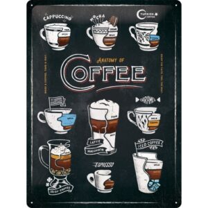 Cartello Anatomy of Coffee 30 x 40 in metallo