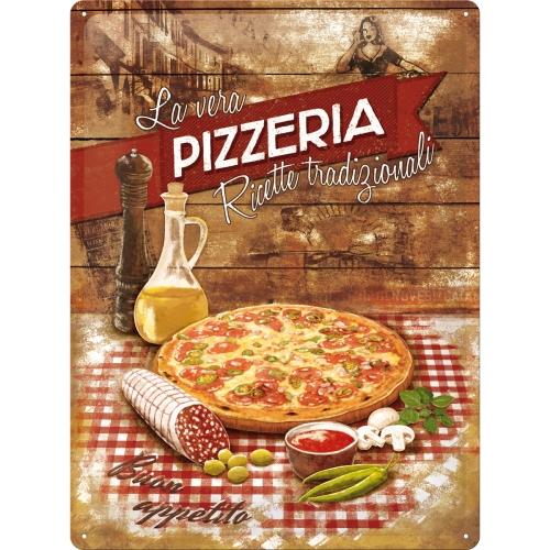 Cartello La Vera Pizzeria 20 x 30 in metallo