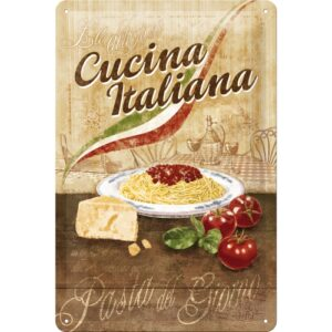 Cartello Cucina Italiana 20 x 30 in metallo