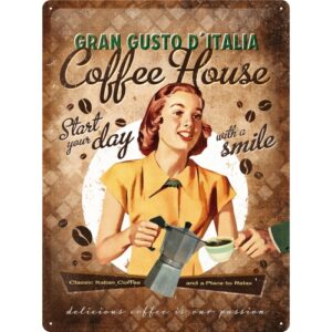 Cartello Gran Gusto d'Italia Coffee House 20 x 30 in metallo
