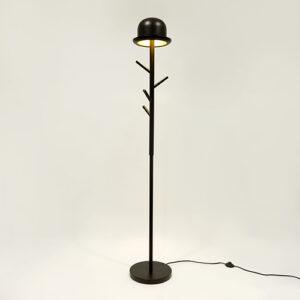 Appendiabiti e lampada da terra 2 in 1 Chapeaux in metallo nero