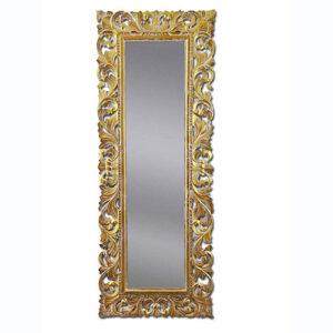 Specchio da parete in legno foglia oro 145 x 55 orizzontale o verticale
