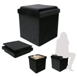 Pouf tavolino contenitore pieghevole in legno e velluto nero