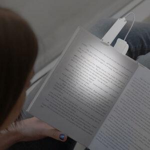 Luce da lettura Booky bianca a pinza con cavo USB
