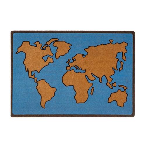 Zerbino Mappa del Mondo azzurro di design in poliestere