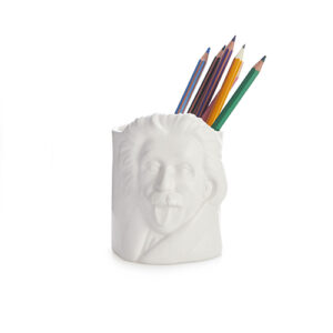 Portamatite e portapenne Albert Einstein in ceramica bianco