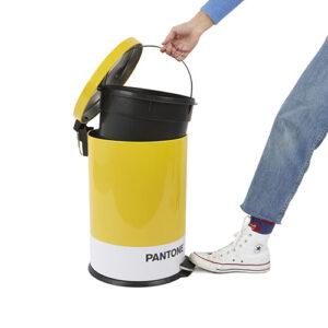 Pattumiera 20 Lt. Pantone giallo in metallo con apertura a pedale