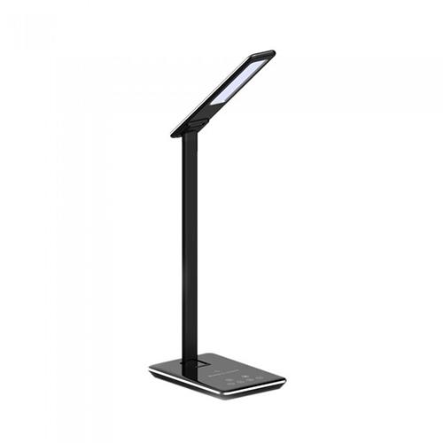 Lampada da tavolo led 5W multifunzione nera con stazione di ricarica wireless