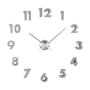 Orologio da parete componibile Mega con numeri adesivi 3D argento
