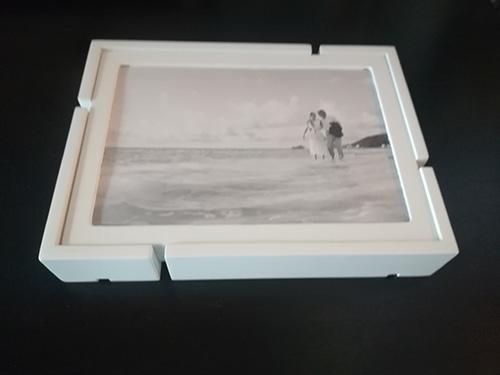 Set di 4 portafoto 10 x 15 in legno bianco su base rettangolare