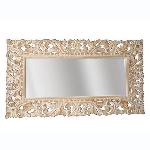 Specchio da parete in legno intagliato 100 x 57 bianco decapé orizzontale o verticale