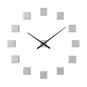 Orologio da parete componibile cubi argento adesivi 3D