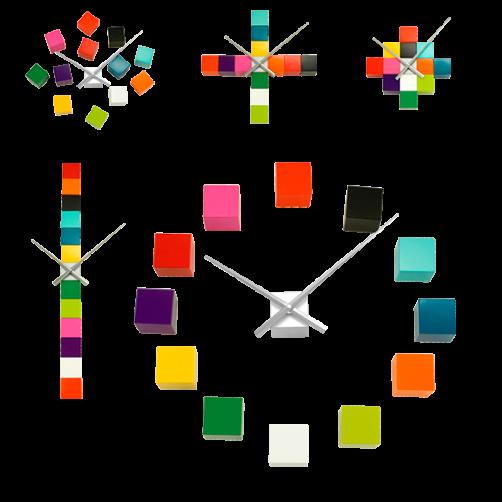 Orologio da parete componibile cubi colorati adesivi 3D