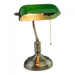 Lampada da tavolo ministeriale vintage bronzo e verde