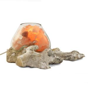 Lampada di sale dell'Himalaya in vetro soffiato su radice di legno