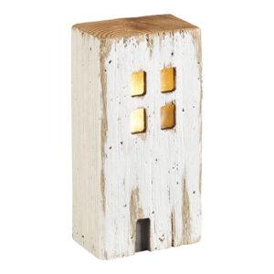 Lampada led Casetta in legno sbiancato vintage