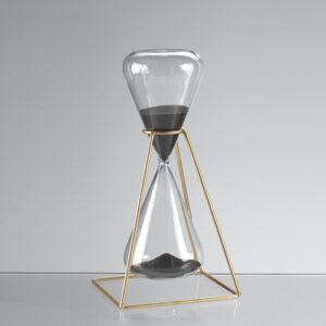 Clessidra in vetro con supporto in metallo da 30 minuti