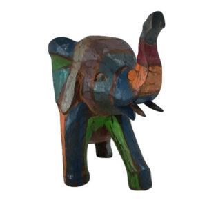 Scultura Elefante in legno dipinto a mano