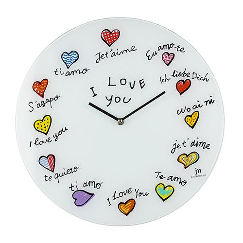 Orologio da parete in vetro I Love You Ti amo
