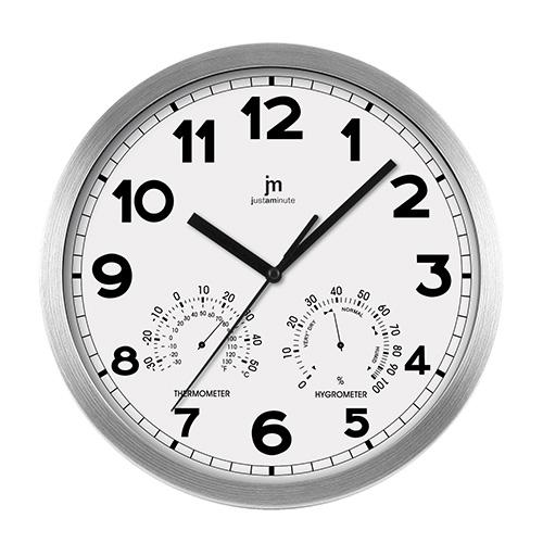 Orologio da parete bianco con termometro e igrometro