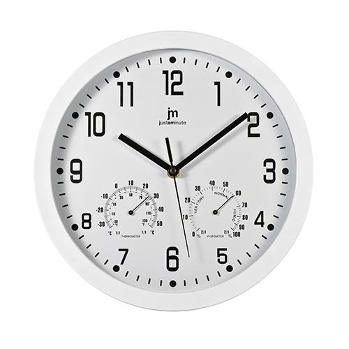 Orologio da parete bianco con temperatura e umidità