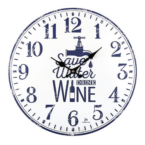 Orologio da parete in metallo bombato con scritta Wine Drink